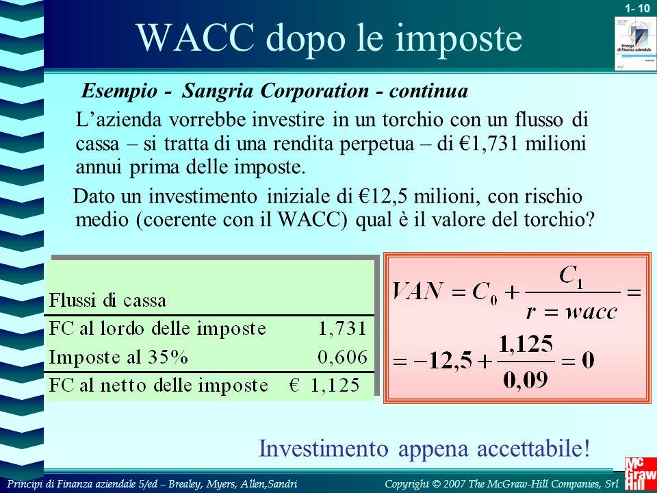 1- 10 Copyright © 2007 The McGraw-Hill Companies, SrlPrincipi di Finanza aziendale 5/ed – Brealey, Myers, Allen,Sandri WACC dopo le imposte Esempio -