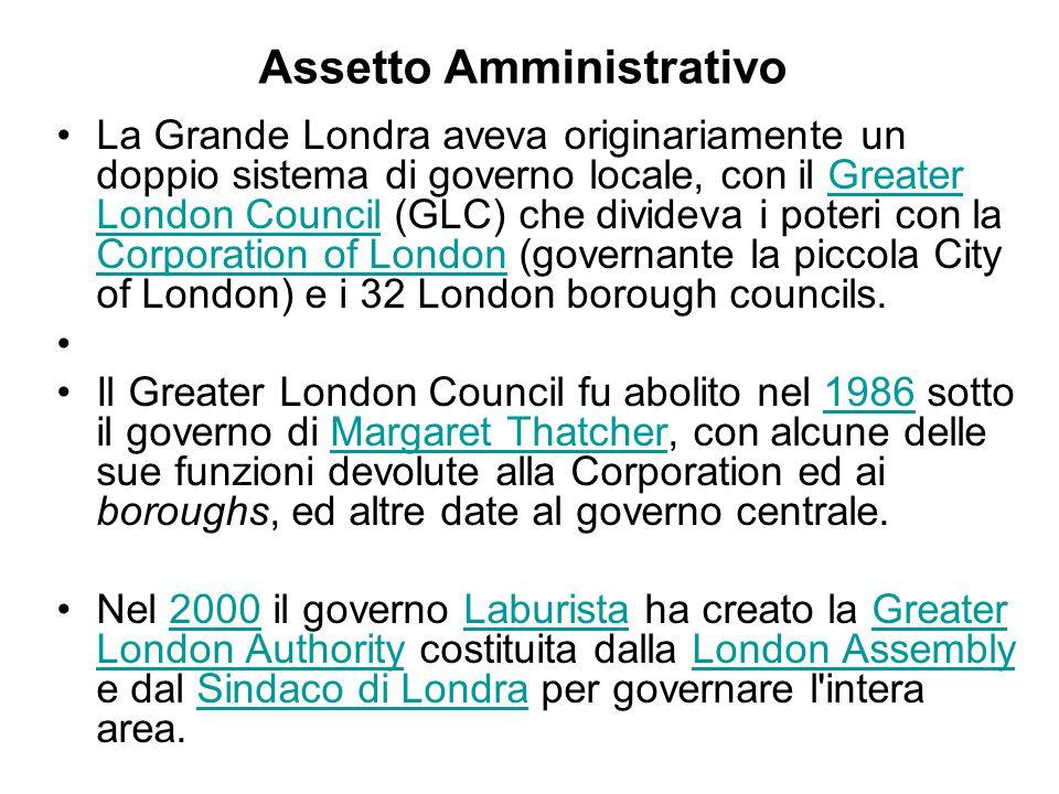 Assetto Amministrativo La Grande Londra aveva originariamente un doppio sistema di governo locale, con il Greater London Council (GLC) che divideva i