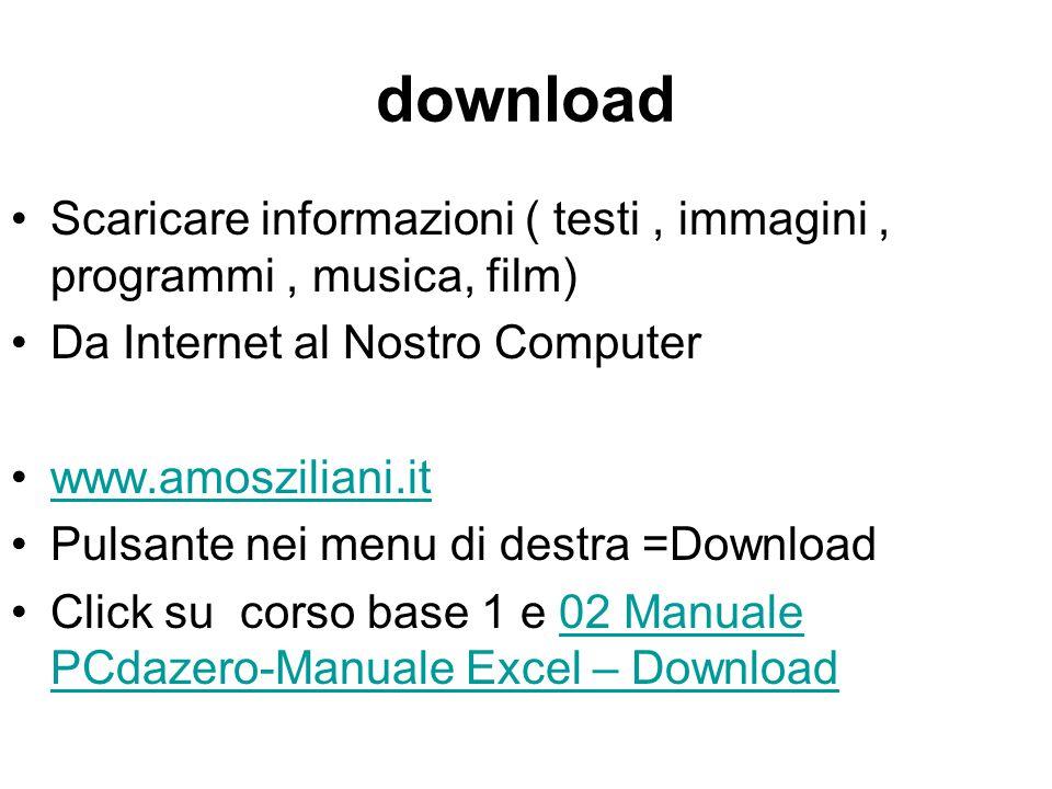 download Scaricare informazioni ( testi, immagini, programmi, musica, film) Da Internet al Nostro Computer www.amosziliani.it Pulsante nei menu di des
