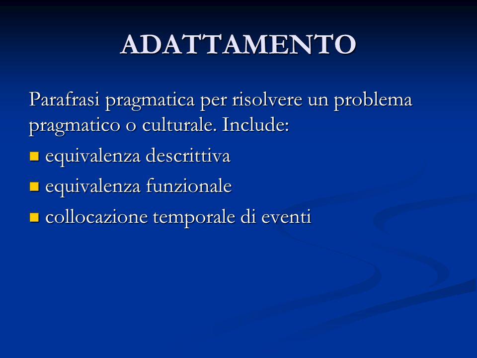 ADATTAMENTO Parafrasi pragmatica per risolvere un problema pragmatico o culturale.
