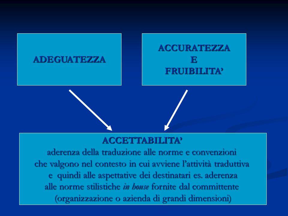 ADEGUATEZZAACCURATEZZAEFRUIBILITA' ACCETTABILITA' aderenza della traduzione alle norme e convenzioni che valgono nel contesto in cui avviene l'attività traduttiva e quindi alle aspettative dei destinatari es.