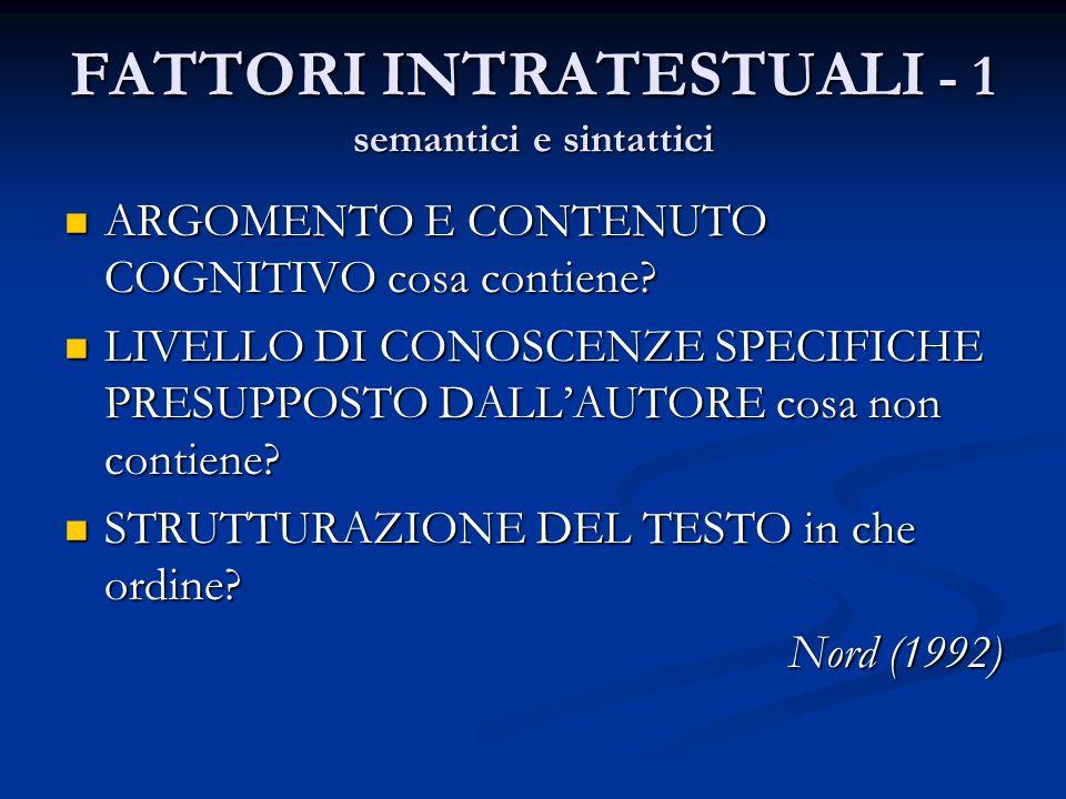 FATTORI INTRATESTUALI - 1 semantici e sintattici ARGOMENTO E CONTENUTO COGNITIVO cosa contiene.