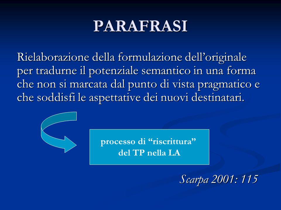 PARAFRASI Rielaborazione della formulazione dell'originale per tradurne il potenziale semantico in una forma che non si marcata dal punto di vista pragmatico e che soddisfi le aspettative dei nuovi destinatari.