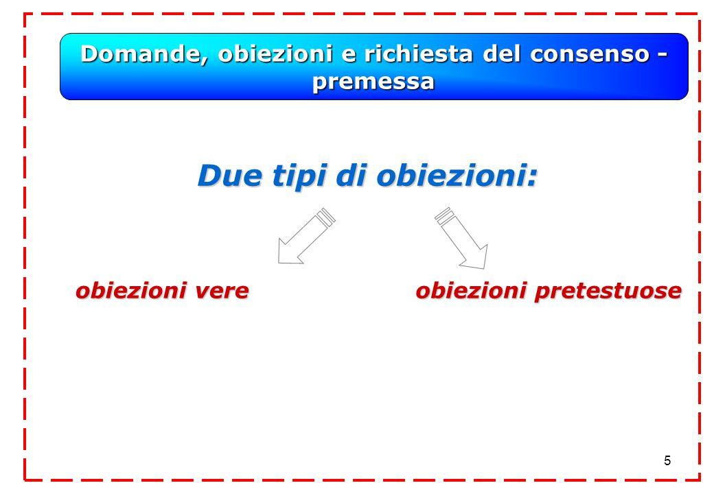 5 Domande, obiezioni e richiesta del consenso - premessa Due tipi di obiezioni: obiezioni vere obiezioni vere obiezioni pretestuose
