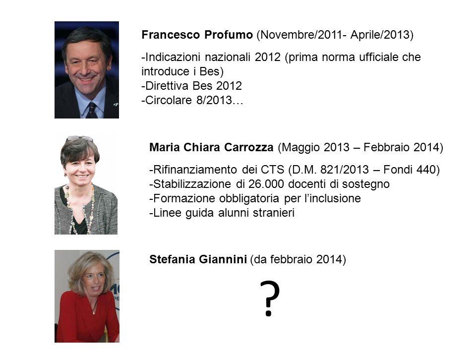 Francesco Profumo (Novembre/2011- Aprile/2013) -Indicazioni nazionali 2012 (prima norma ufficiale che introduce i Bes) -Direttiva Bes 2012 -Circolare 8/2013… Maria Chiara Carrozza (Maggio 2013 – Febbraio 2014) -Rifinanziamento dei CTS (D.M.