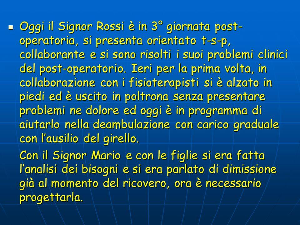 Oggi il Signor Rossi è in 3° giornata post- operatoria, si presenta orientato t-s-p, collaborante e si sono risolti i suoi problemi clinici del post-operatorio.