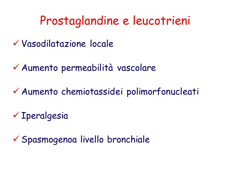 Prostaglandine e leucotrieni Vasodilatazione locale Aumento permeabilità vascolare Aumento chemiotassidei polimorfonucleati Iperalgesia Spasmogenoa li