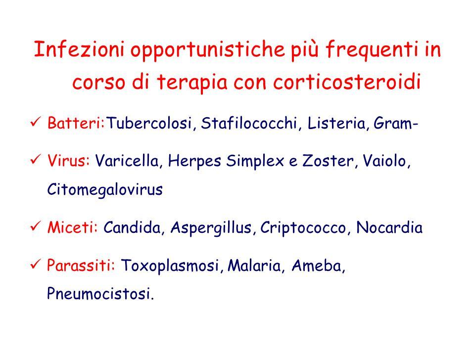Infezioni opportunistiche più frequenti in corso di terapia con corticosteroidi Batteri:Tubercolosi, Stafilococchi, Listeria, Gram- Virus: Varicella,