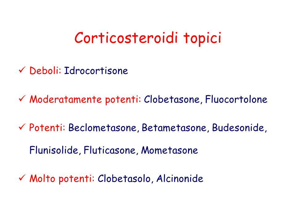 Corticosteroidi topici Deboli: Idrocortisone Moderatamente potenti: Clobetasone, Fluocortolone Potenti: Beclometasone, Betametasone, Budesonide, Fluni