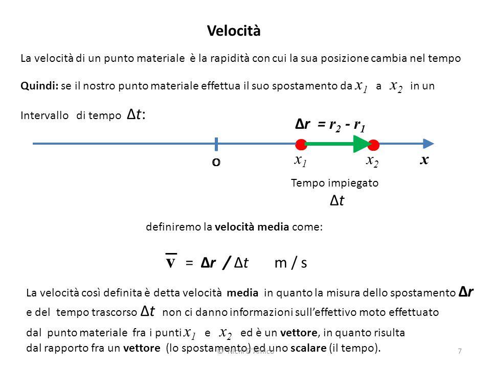 7 Velocità La velocità di un punto materiale è la rapidità con cui la sua posizione cambia nel tempo Quindi: se il nostro punto materiale effettua il