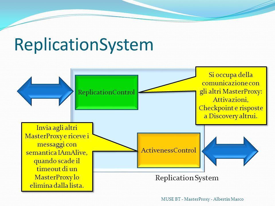 ReplicationSystem MUSE BT - MasterProxy - Albertin Marco Replication System ReplicationControl ActivenessControl Si occupa della comunicazione con gli altri MasterProxy: Attivazioni, Checkpoint e risposte a Discovery altrui.