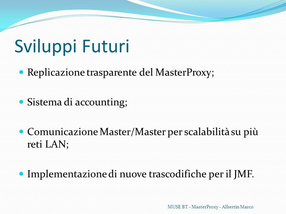Sviluppi Futuri Replicazione trasparente del MasterProxy; Sistema di accounting; Comunicazione Master/Master per scalabilità su più reti LAN; Implementazione di nuove trascodifiche per il JMF.
