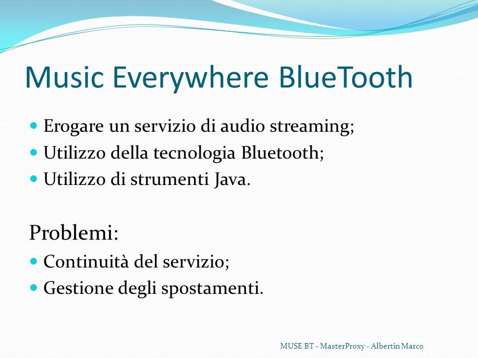 Music Everywhere BlueTooth Erogare un servizio di audio streaming; Utilizzo della tecnologia Bluetooth; Utilizzo di strumenti Java.