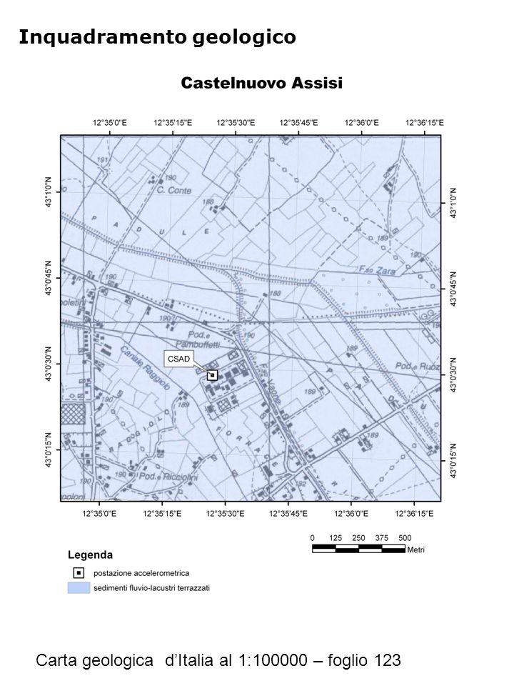 Inquadramento geologico Carta geologica d'Italia al 1:100000 – foglio 123