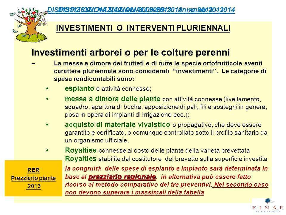 DISPOSIZIONI NAZIONALI 2009-2013 anno 2013 - 2014 INVESTIMENTI O INTERVENTI PLURIENNALI Investimenti arborei o per le colture perenni –La messa a dimo