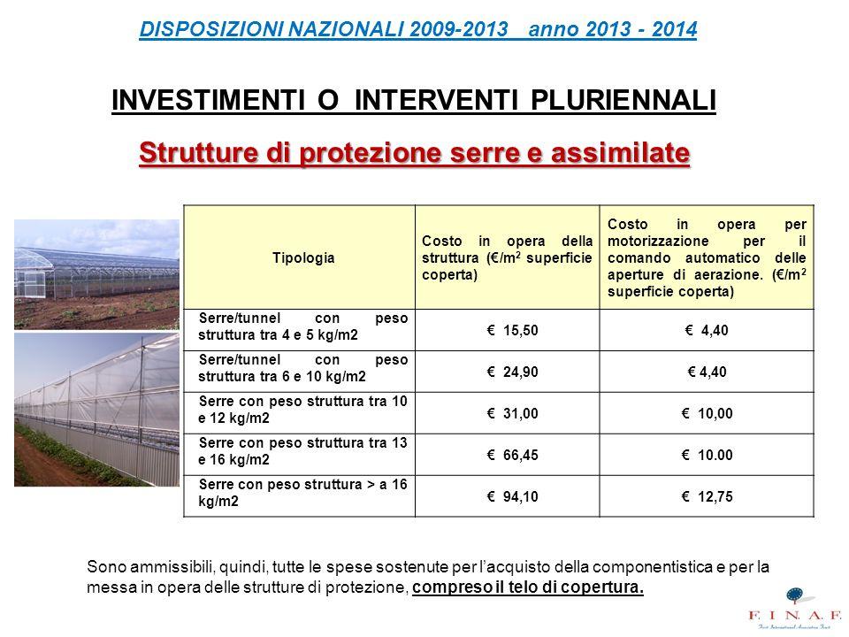 DISPOSIZIONI NAZIONALI 2009-2013 anno 2013 - 2014 INVESTIMENTI O INTERVENTI PLURIENNALI Strutture di protezione serre e assimilate Tipologia Costo in