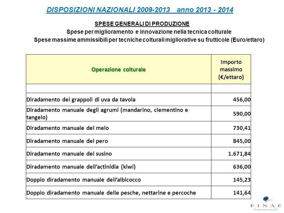 DISPOSIZIONI NAZIONALI 2009-2013 anno 2013 - 2014 SPESE GENERALI DI PRODUZIONE Spese per miglioramento e innovazione nella tecnica colturale Spese mas