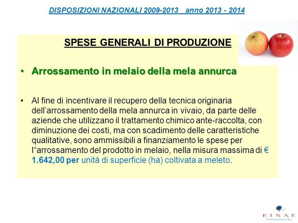 DISPOSIZIONI NAZIONALI 2009-2013 anno 2013 - 2014 SPESE GENERALI DI PRODUZIONE Arrossamento in melaio della mela annurcaArrossamento in melaio della m