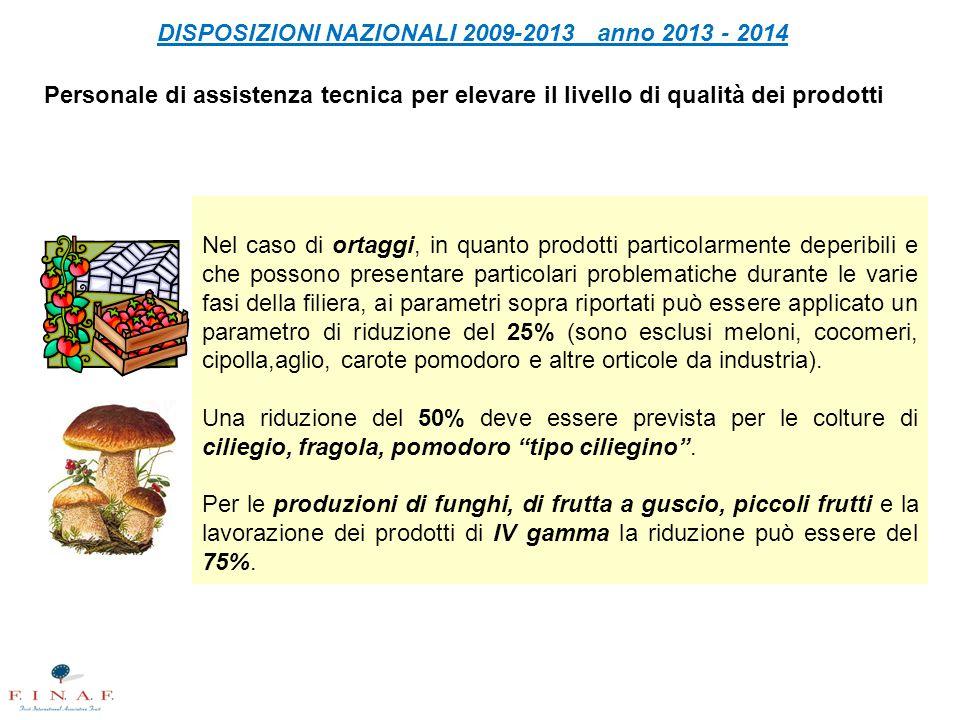 DISPOSIZIONI NAZIONALI 2009-2013 anno 2013 - 2014 Personale di assistenza tecnica per elevare il livello di qualità dei prodotti Nel caso di ortaggi,