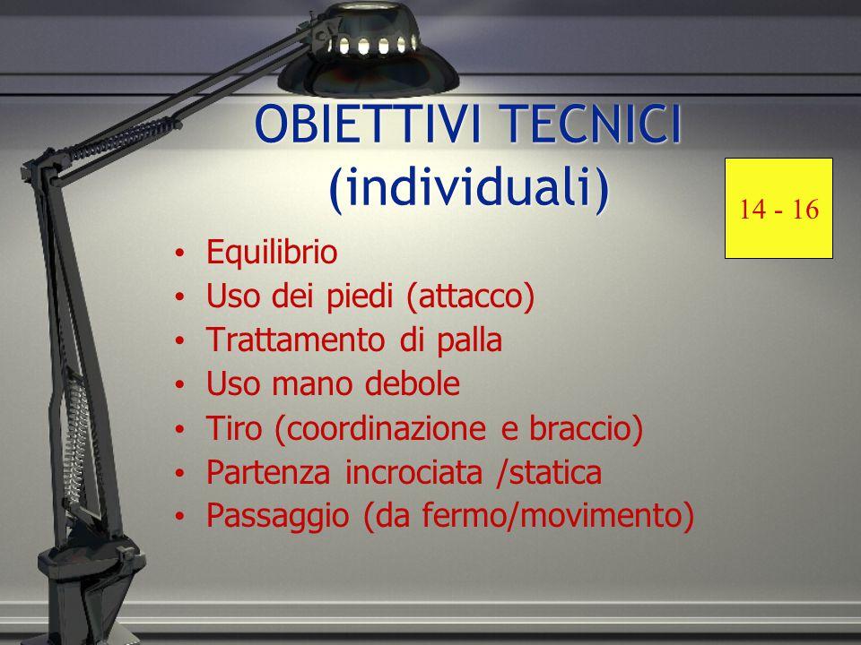 OBIETTIVI TECNICI (individuali) Equilibrio Uso dei piedi (attacco) Trattamento di palla Uso mano debole Tiro (coordinazione e braccio) Partenza incrociata /statica Passaggio (da fermo/movimento) 14 - 16