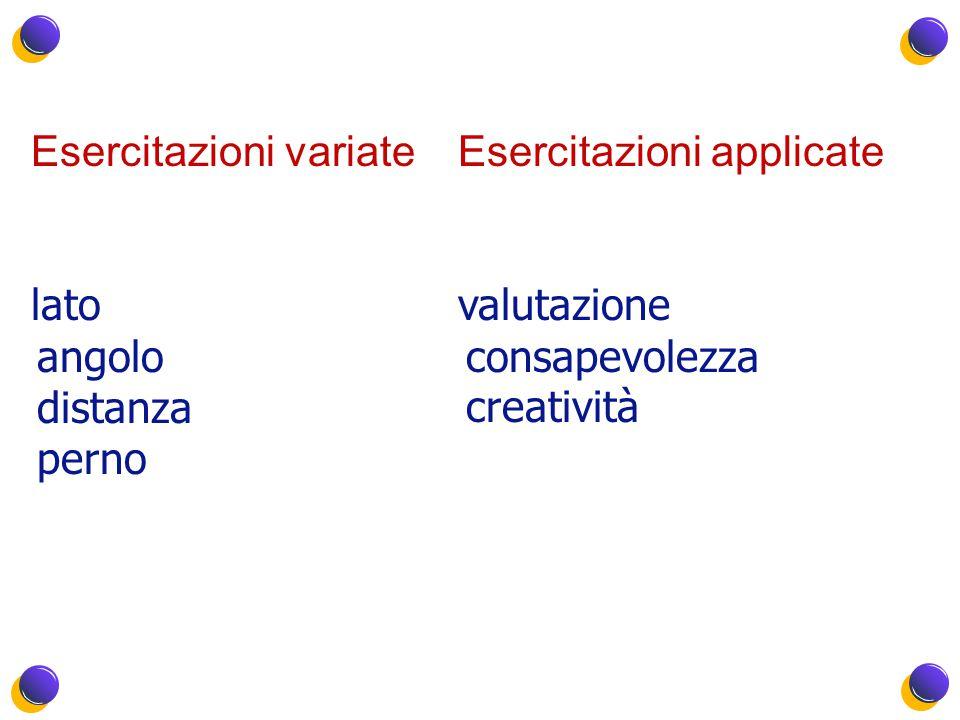 Esercitazioni variate lato angolo distanza perno Esercitazioni applicate valutazione consapevolezza creatività