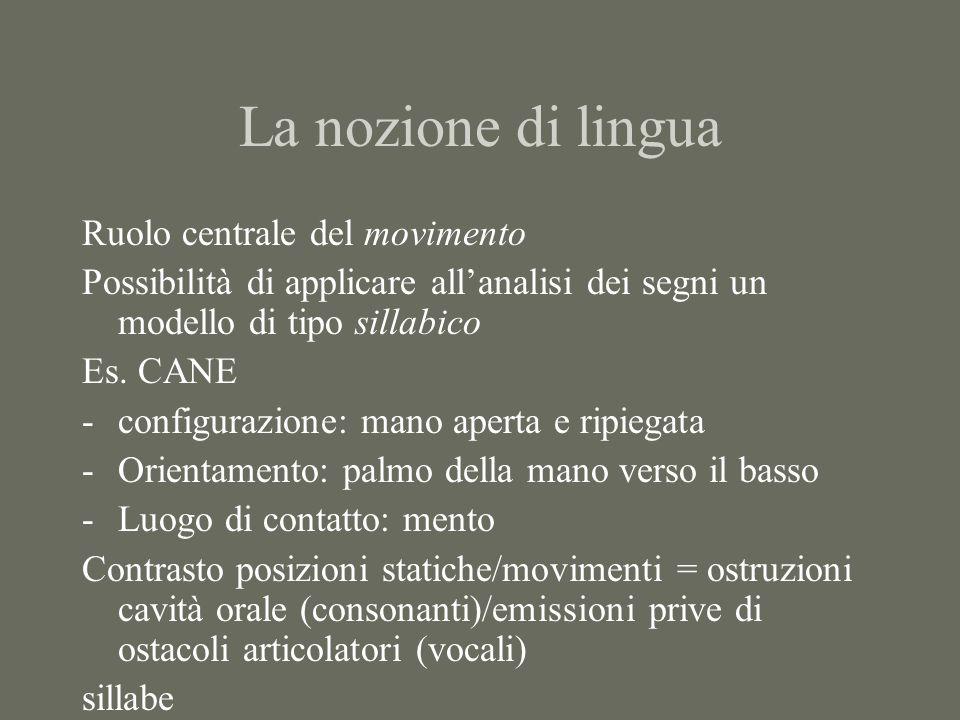 La nozione di lingua Ruolo centrale del movimento Possibilità di applicare all'analisi dei segni un modello di tipo sillabico Es. CANE -configurazione