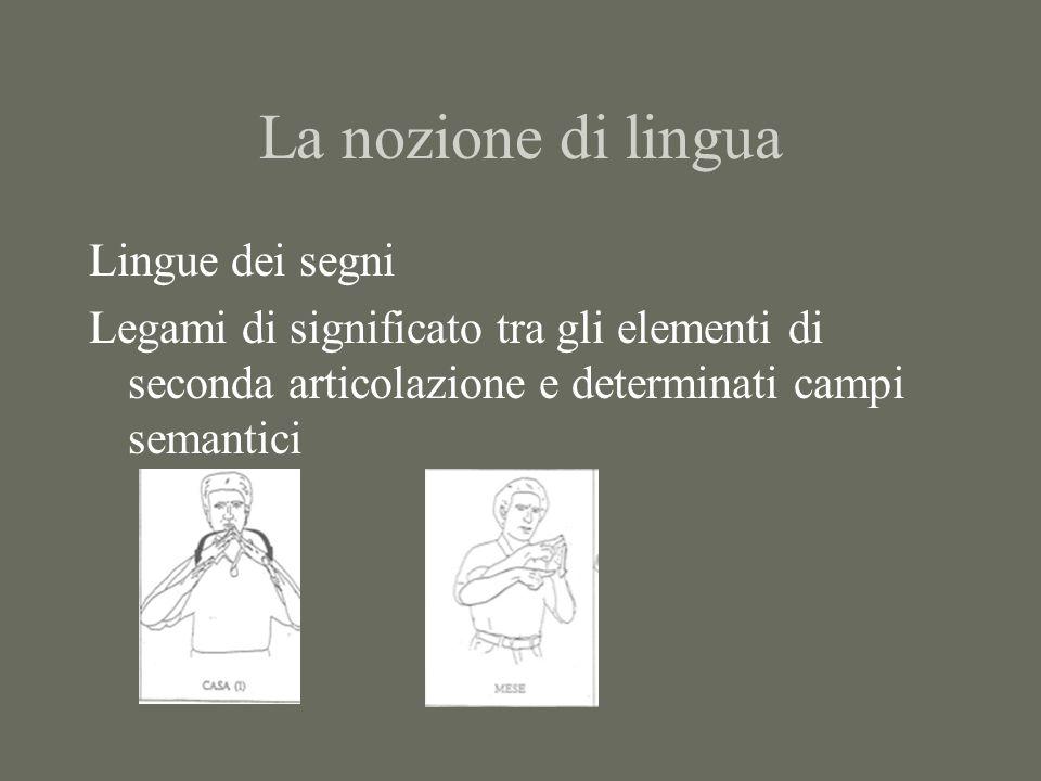La nozione di lingua Lingue dei segni Legami di significato tra gli elementi di seconda articolazione e determinati campi semantici