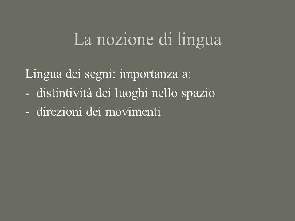 La nozione di lingua Lingua dei segni: importanza a: -distintività dei luoghi nello spazio -direzioni dei movimenti