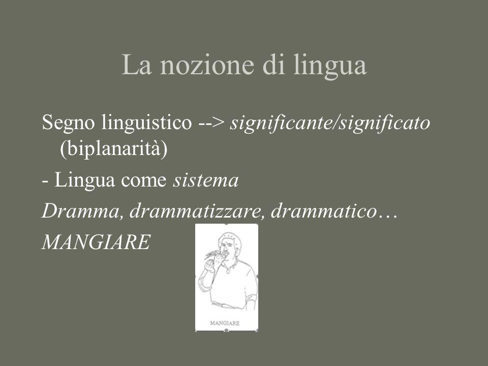 La nozione di lingua Segno linguistico --> significante/significato (biplanarità) - Lingua come sistema Dramma, drammatizzare, drammatico… MANGIARE