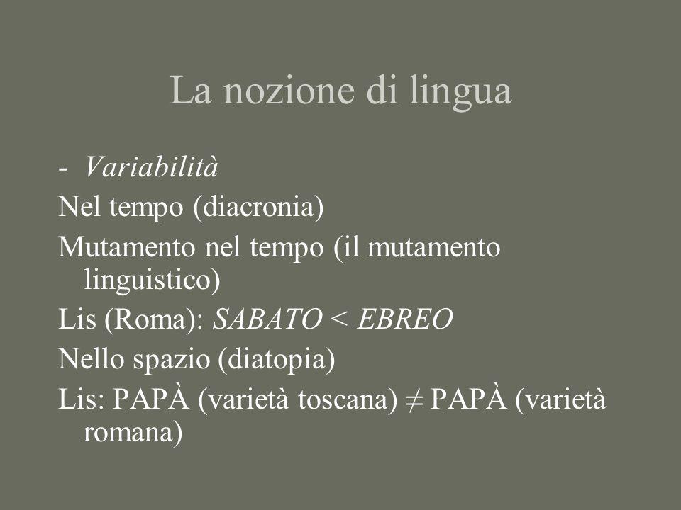 La nozione di lingua -Variabilità Nel tempo (diacronia) Mutamento nel tempo (il mutamento linguistico) Lis (Roma): SABATO < EBREO Nello spazio (diatop