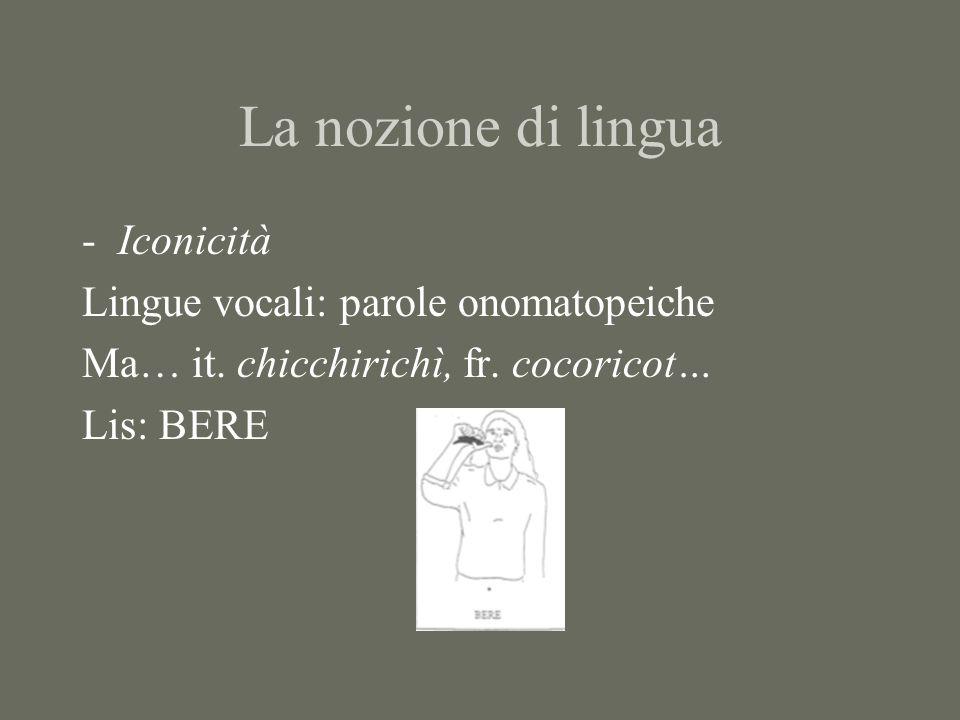 La nozione di lingua -doppia articolazione Lingue vocali: prima articolazione --> morfemi Seconda articolazione --> fonemi Lingue dei segni i)luoghi; ii) configurazioni della mano; iii) orientamenti della mano; iv) tipi di movimento Stokoe: cheremi (paragonabili alle unità di seconda articolazione delle lingue vocali, i fonemi)