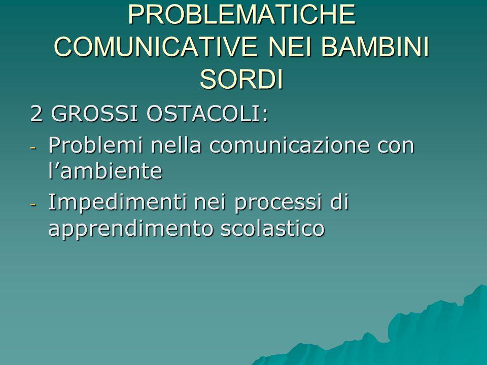 PROBLEMATICHE COMUNICATIVE NEI BAMBINI SORDI 2 GROSSI OSTACOLI: - Problemi nella comunicazione con l'ambiente - Impedimenti nei processi di apprendime