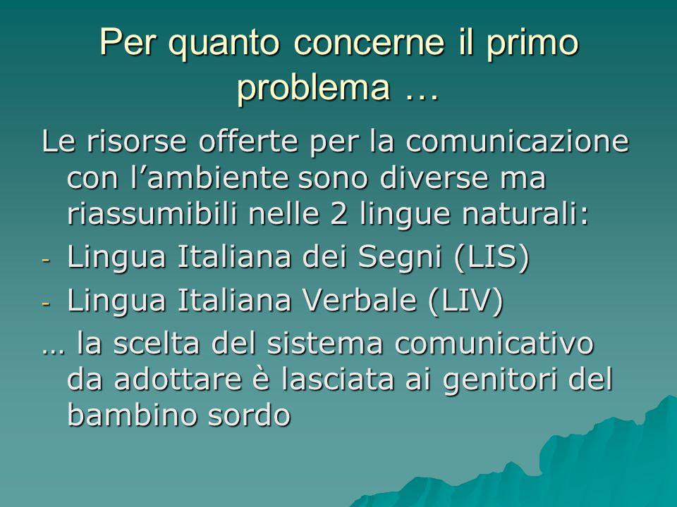 Per quanto concerne il primo problema … Le risorse offerte per la comunicazione con l'ambiente sono diverse ma riassumibili nelle 2 lingue naturali: -