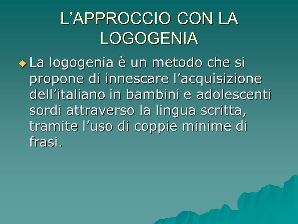 L'APPROCCIO CON LA LOGOGENIA  La logogenia è un metodo che si propone di innescare l'acquisizione dell'italiano in bambini e adolescenti sordi attrav