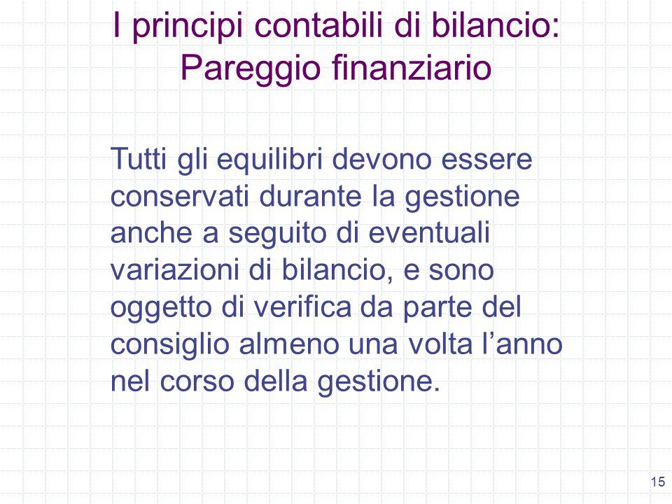 15 I principi contabili di bilancio: Pareggio finanziario Tutti gli equilibri devono essere conservati durante la gestione anche a seguito di eventual