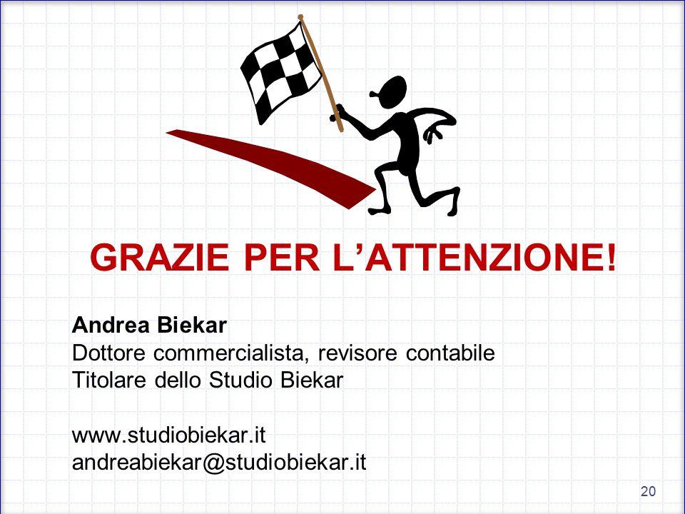 GRAZIE PER L'ATTENZIONE! Andrea Biekar Dottore commercialista, revisore contabile Titolare dello Studio Biekar www.studiobiekar.it andreabiekar@studio