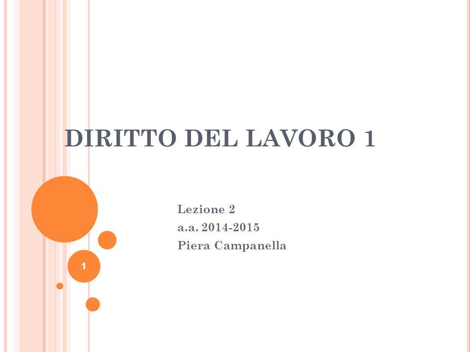 DIRITTO DEL LAVORO 1 Lezione 2 a.a. 2014-2015 Piera Campanella 1