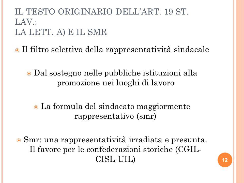 IL TESTO ORIGINARIO DELL'ART. 19 ST. LAV.: LA LETT. A) E IL SMR  Il filtro selettivo della rappresentatività sindacale  Dal sostegno nelle pubbliche