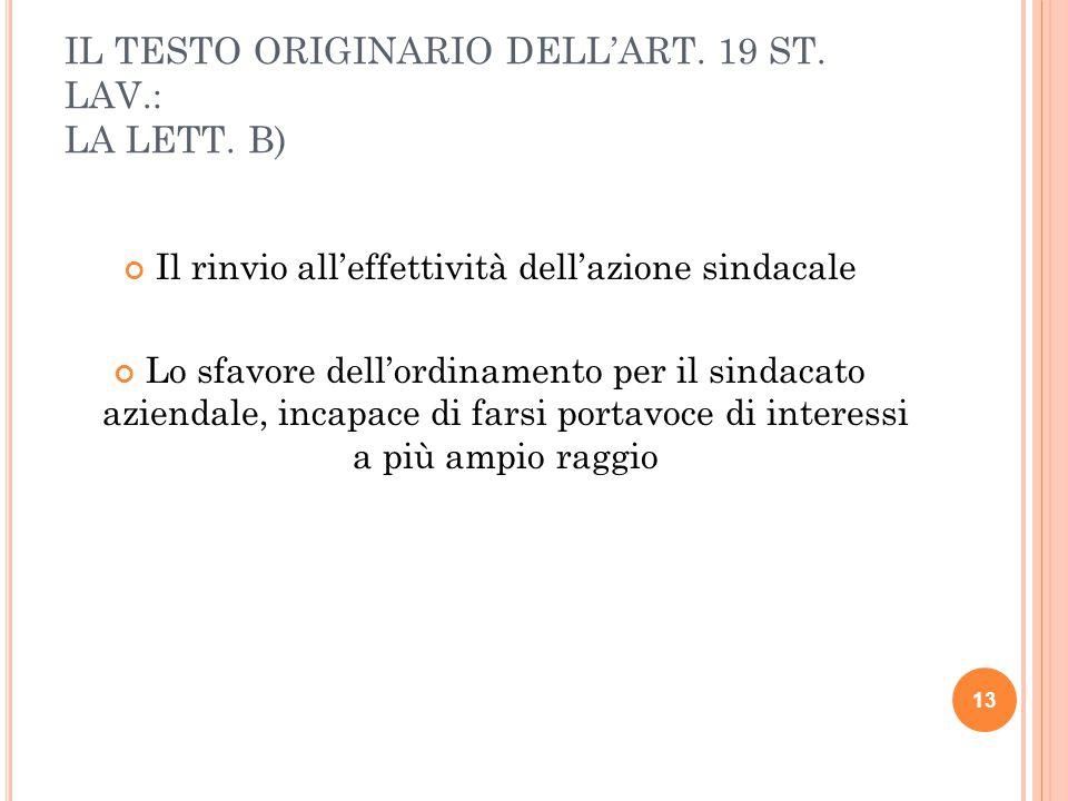 IL TESTO ORIGINARIO DELL'ART.19 ST. LAV.: LA LETT.
