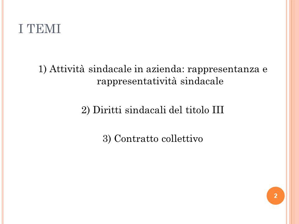 I TEMI 1) Attività sindacale in azienda: rappresentanza e rappresentatività sindacale 2) Diritti sindacali del titolo III 3) Contratto collettivo 2