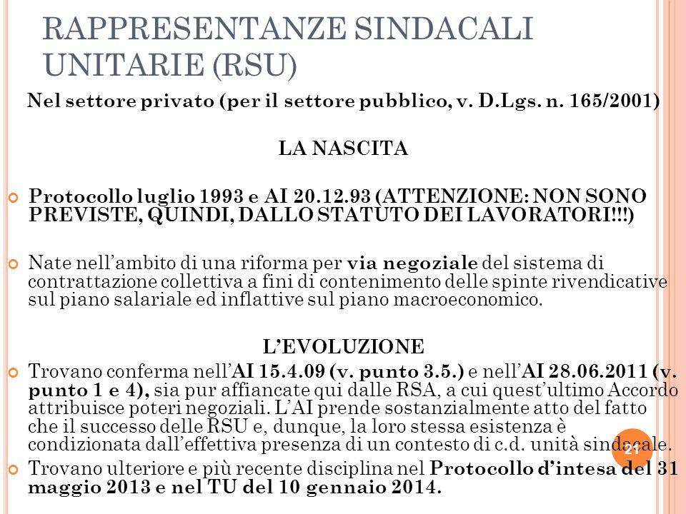 RAPPRESENTANZE SINDACALI UNITARIE (RSU) Nel settore privato (per il settore pubblico, v. D.Lgs. n. 165/2001) LA NASCITA Protocollo luglio 1993 e AI 20