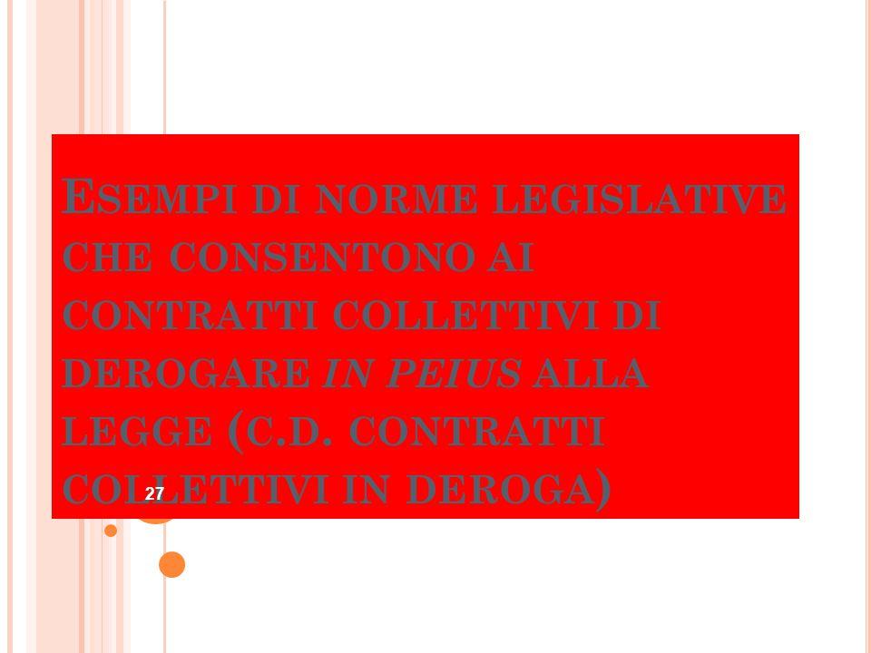 E SEMPI DI NORME LEGISLATIVE CHE CONSENTONO AI CONTRATTI COLLETTIVI DI DEROGARE IN PEIUS ALLA LEGGE ( C. D. CONTRATTI COLLETTIVI IN DEROGA ) 27