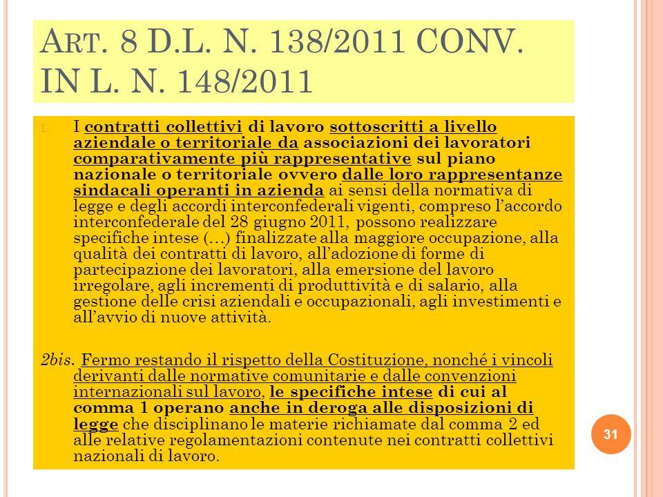 A RT. 8 D.L. N. 138/2011 CONV. IN L. N. 148/2011 1. I contratti collettivi di lavoro sottoscritti a livello aziendale o territoriale da associazioni d