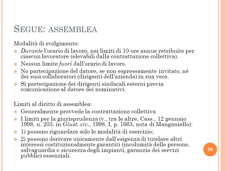 S EGUE : ASSEMBLEA Modalità di svolgimento:  Durante l'orario di lavoro, nei limiti di 10 ore annue retribuite per ciascun lavoratore (elevabili dalla contrattazione collettiva).