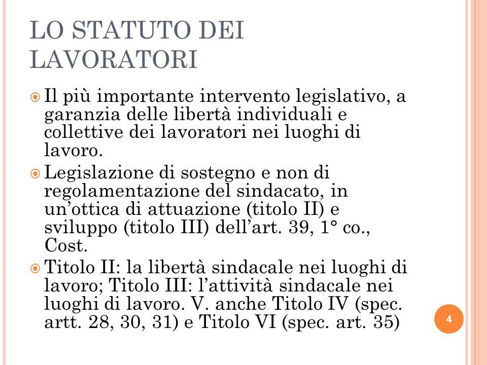 LO STATUTO DEI LAVORATORI  Il più importante intervento legislativo, a garanzia delle libertà individuali e collettive dei lavoratori nei luoghi di l