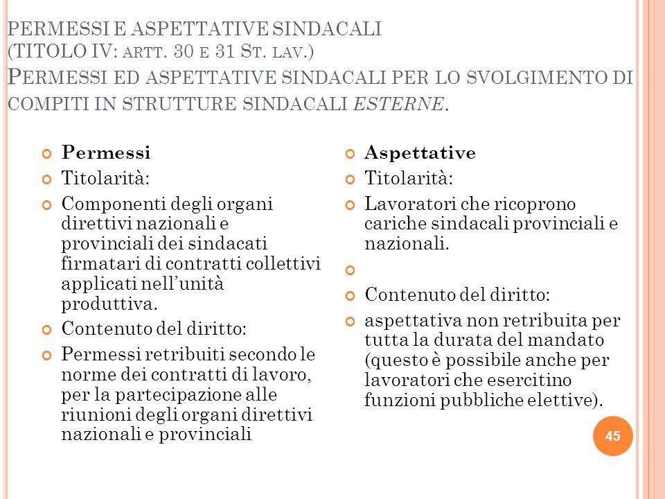 PERMESSI E ASPETTATIVE SINDACALI (TITOLO IV: ARTT. 30 E 31 S T. LAV.) P ERMESSI ED ASPETTATIVE SINDACALI PER LO SVOLGIMENTO DI COMPITI IN STRUTTURE SI