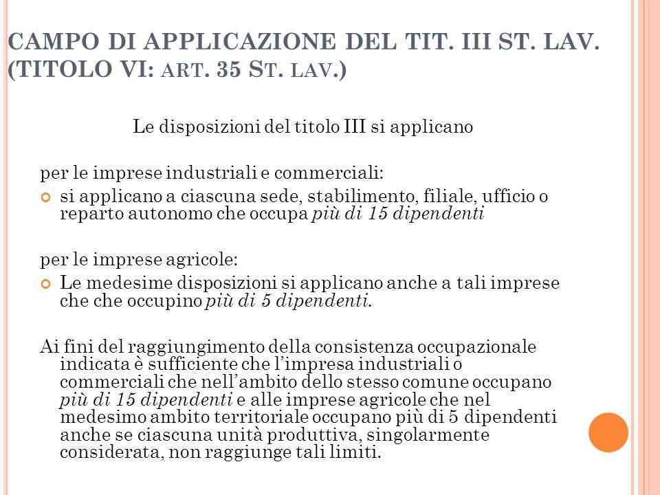 47 CAMPO DI APPLICAZIONE DEL TIT. III ST. LAV. (TITOLO VI: ART. 35 S T. LAV.) Le disposizioni del titolo III si applicano per le imprese industriali e