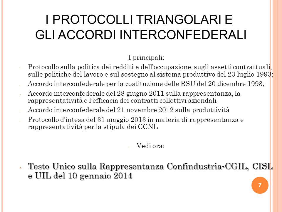 I principali: - Protocollo sulla politica dei redditi e dell'occupazione, sugli assetti contrattuali, sulle politiche del lavoro e sul sostegno al sistema produttivo del 23 luglio 1993; - Accordo interconfederale per la costituzione delle RSU del 20 dicembre 1993; - Accordo interconfederale del 28 giugno 2011 sulla rappresentanza, la rappresentatività e l'efficacia dei contratti collettivi aziendali - Accordo interconfederale del 21 novembre 2012 sulla produttività - Protocollo d'intesa del 31 maggio 2013 in materia di rappresentanza e rappresentatività per la stipula dei CCNL - Vedi ora: - Testo Unico sulla Rappresentanza Confindustria-CGIL, CISL e UIL del 10 gennaio 2014 7 I PROTOCOLLI TRIANGOLARI E GLI ACCORDI INTERCONFEDERALI