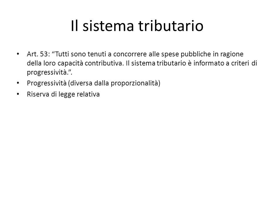 """Il sistema tributario Art. 53: """"Tutti sono tenuti a concorrere alle spese pubbliche in ragione della loro capacità contributiva. Il sistema tributario"""