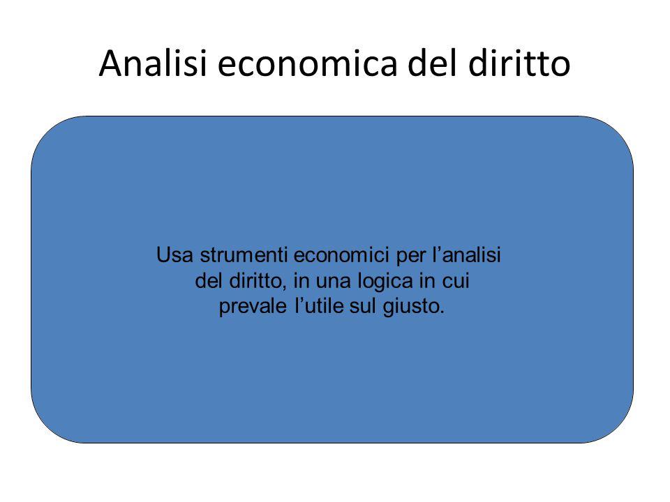 Analisi economica del diritto Usa strumenti economici per l'analisi del diritto, in una logica in cui prevale l'utile sul giusto.